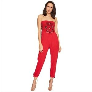 Free People Small Red Strapless Jumpsuit